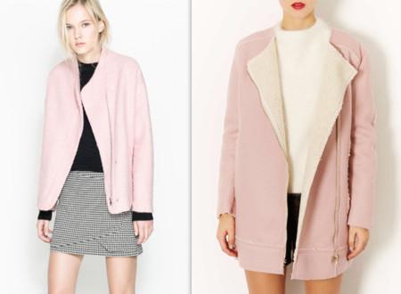 abrigo rosa zara topshop
