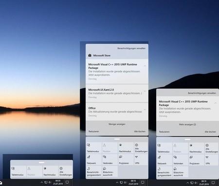 Nuevo centro de actividades de Windows 10 con bordes redondeados