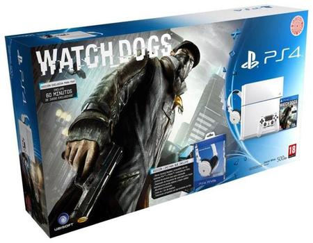 PS4 blanca con Watch Dogs y auriculares