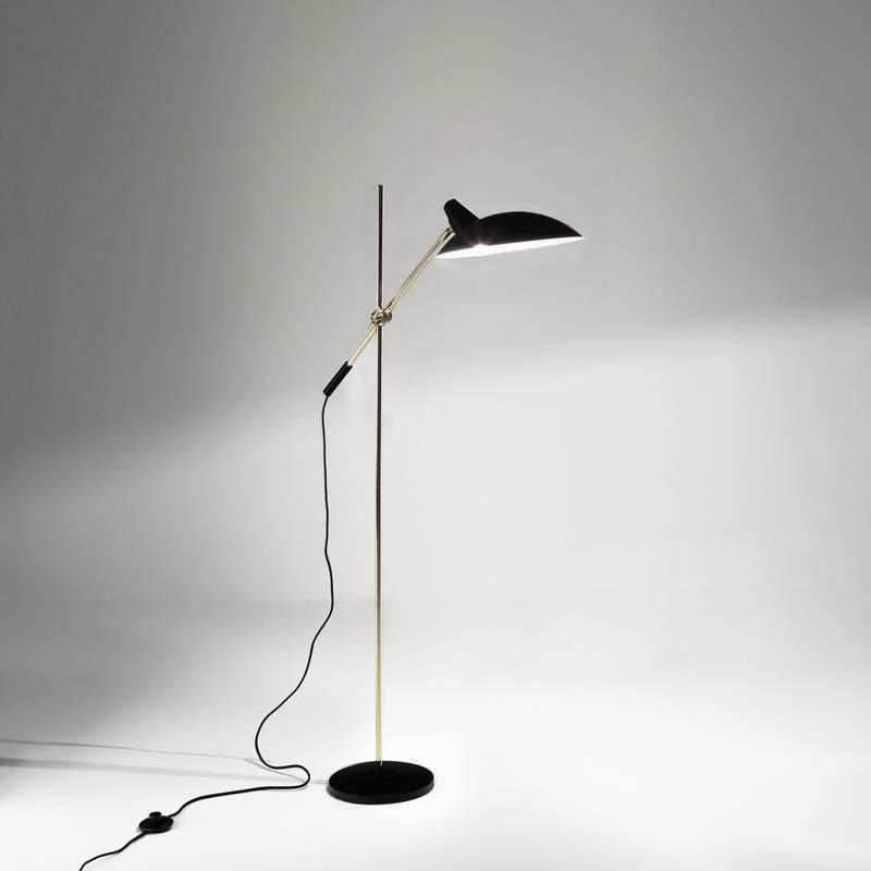 Lámpara de pie vintage, Rosella, de metal y latón