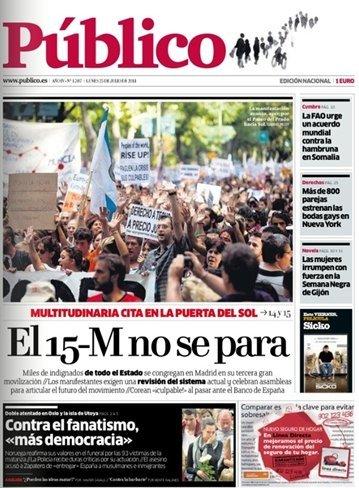 El día después de la #mpi24j en la prensa de papel y digital