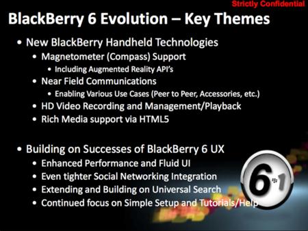 Algunos detalles de BlackBerry OS 6.1 aparecen filtrados en el roadmap de producto