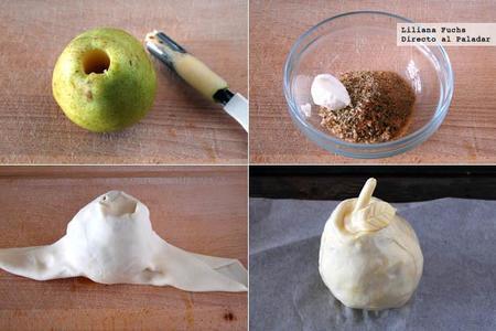 Peras en hojaldre rellenas de nueces. Receta