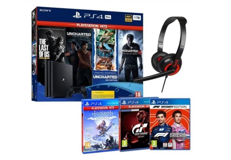 Pack Sony PlayStation 4 Pro 1TB + 9 Juegos + Auriculares Indeca HS070
