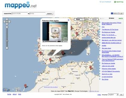 Mappeo, buscando los vídeos geolocalizados de YouTube en el mapa