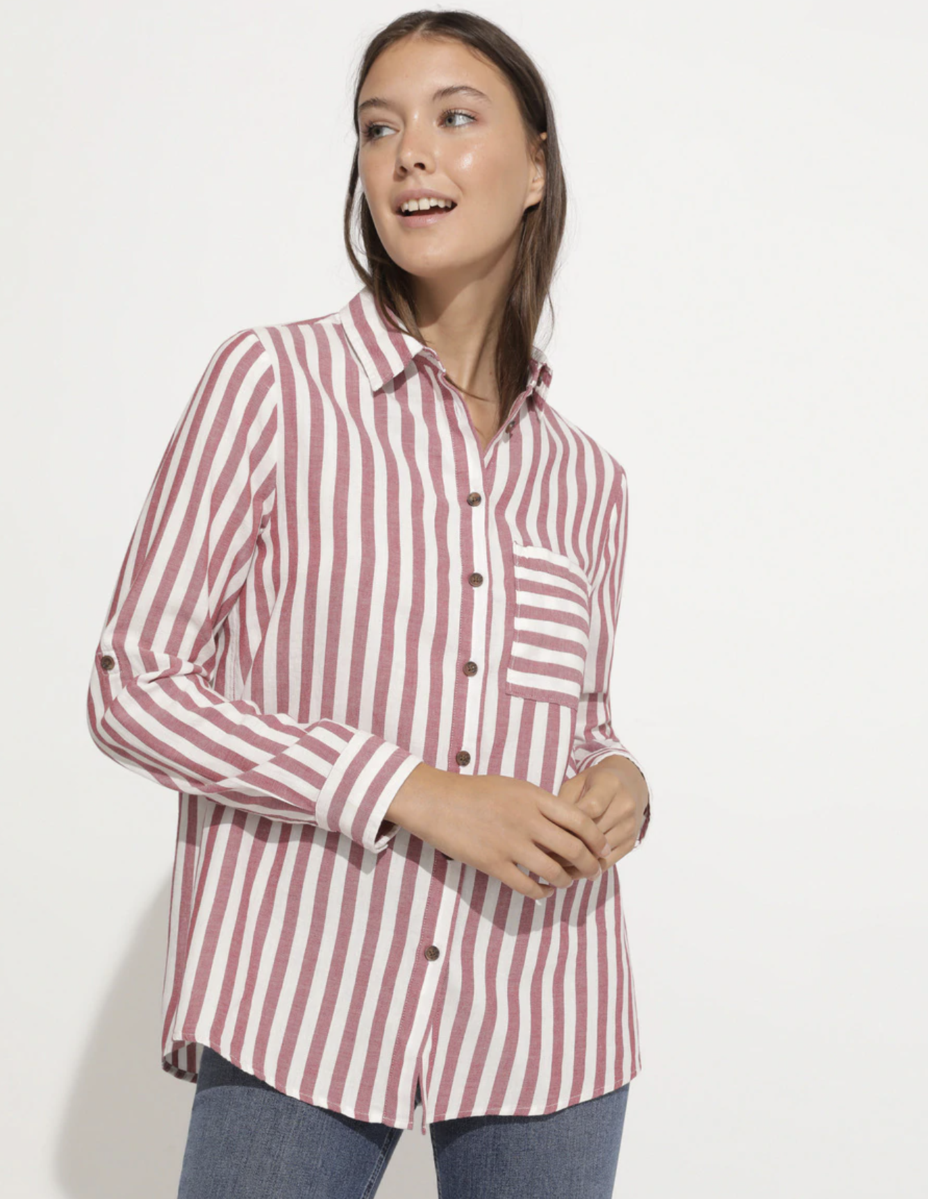 Camisa de mujer rayas manga larga