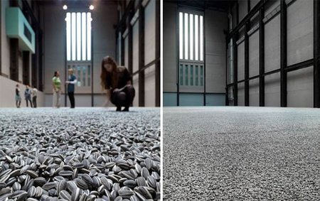 Una alfombra de pipas de girasol
