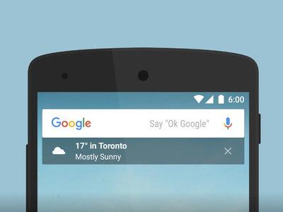 Google app para Android añade widget transparente debajo de la barra de búsqueda