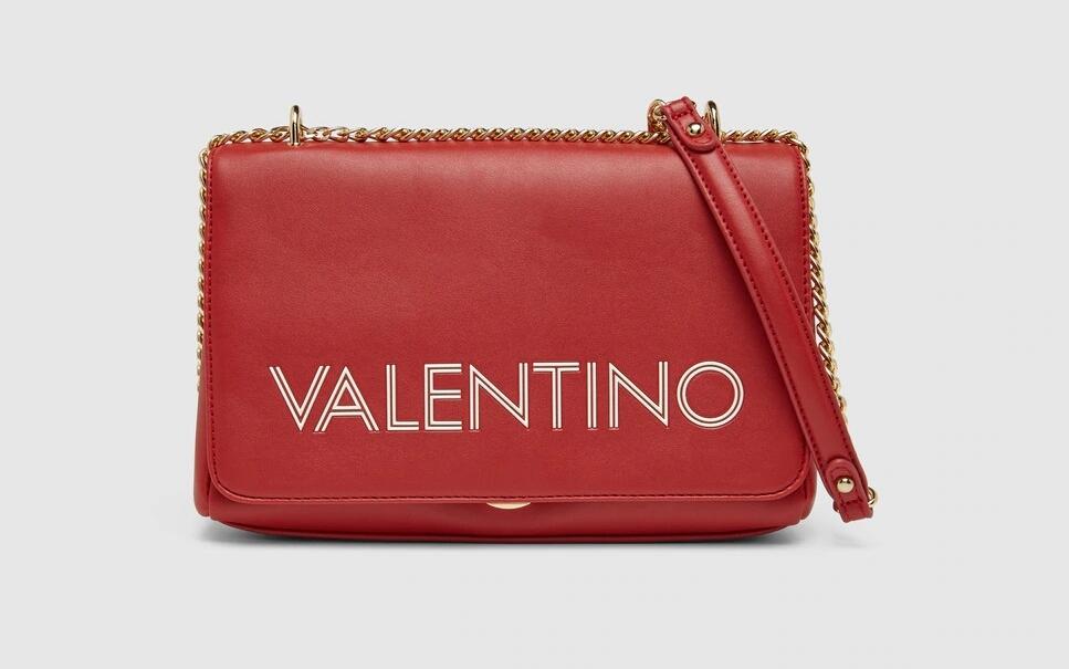 Bolso de hombro Valentino en rojo con asa de cadena