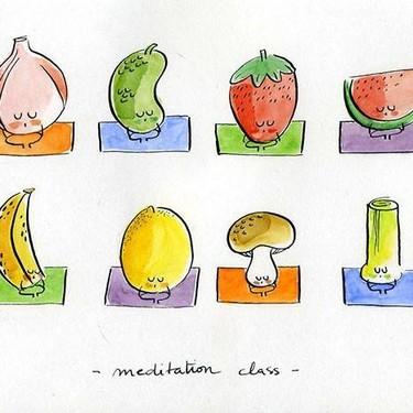 Divertidas acuarelas de frutas y vegetales haciendo yoga