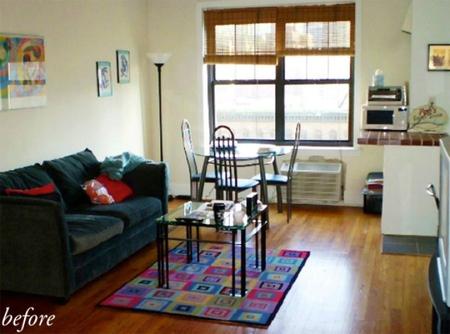 Antes y después: un salón pequeño renovado en tonos malvas