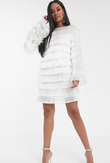 Vestido Recto Con Flecos En Blanco De Missguided