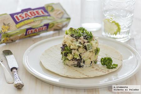 Ensalada templada de rollitos de atún calro Isabel y queso cheddar