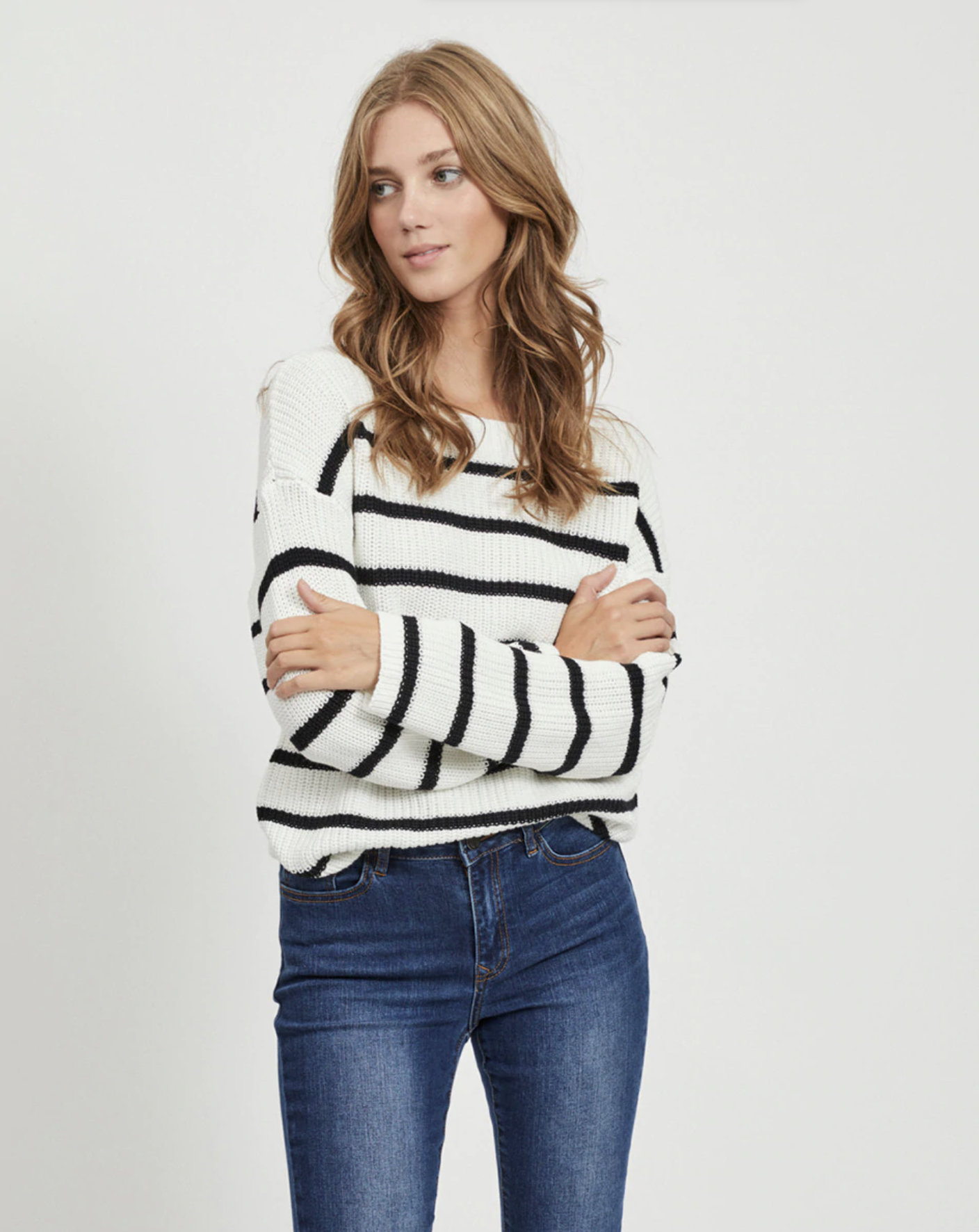 Jersey de mujer de manga larga con rayas