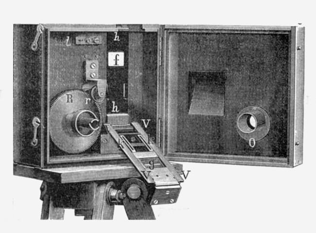 Esquema de la primera cámara de cine inventada por los hermanos Lumiere. 1987.