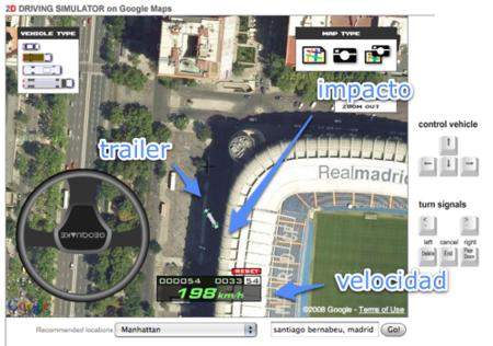 Prueba un simulador de conducción sobre Google Maps