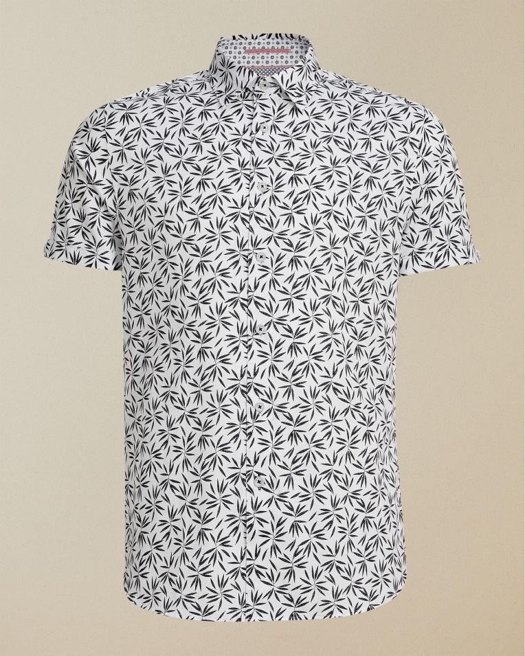 Camisa manga corta modelo Krosa con print azul marino