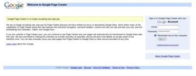 Google pondrá punto final a Google Page Creator