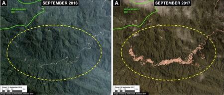 Comparación del nivel de deforestación en la reserva de Amarakaeri, Perú.