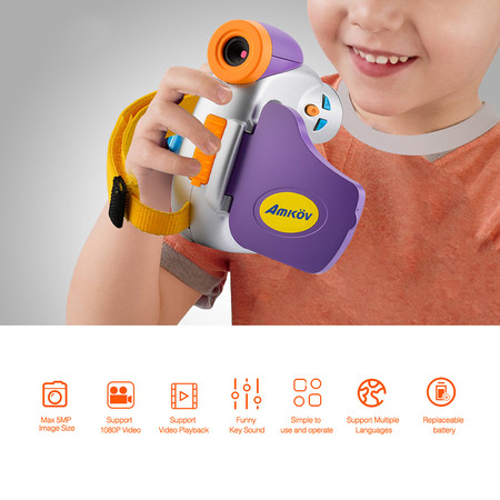 Amkov Dv C7 1080p Children Kid Digital Video Camera 1 44 Colorful Display Multiple Languages Kids