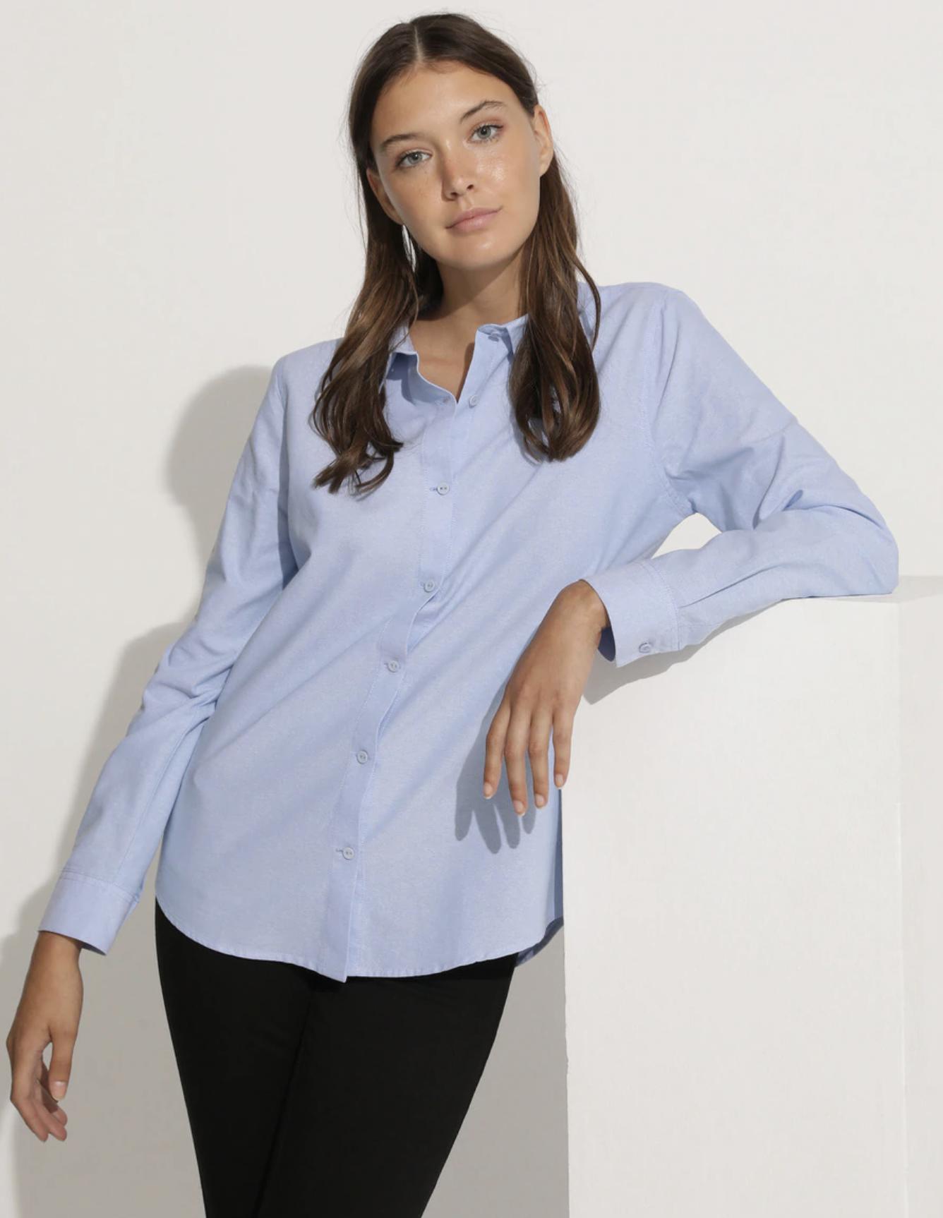 Camisa de mujer Oxford manga larga