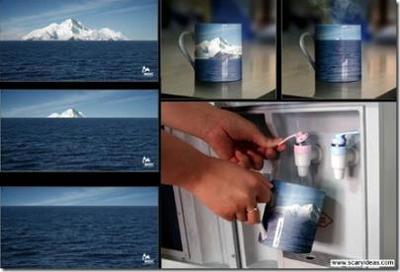 Una taza que muestra los efectos del calentamiento global