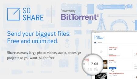 BitTorrent SoShare nos permite enviar  archivos de hasta 1 TB