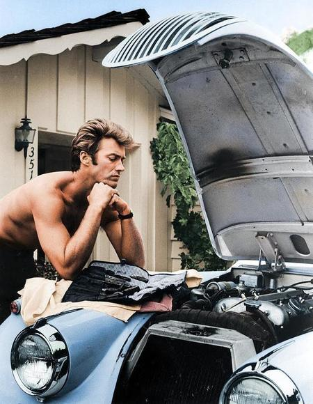 Clint Eastwood Working On His 1958 Jag Xk 120 In 1960