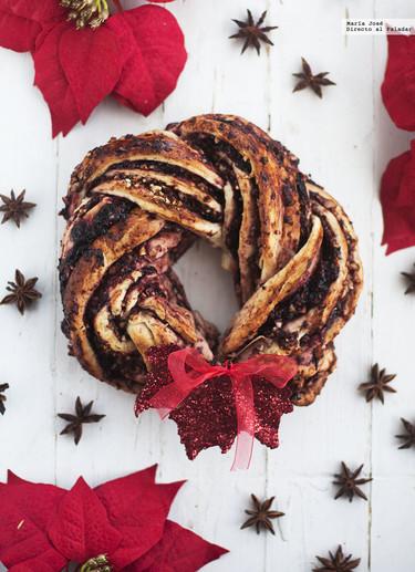Kringle de cerezas y avellanas. Receta de Navidad con y sin Thermomix