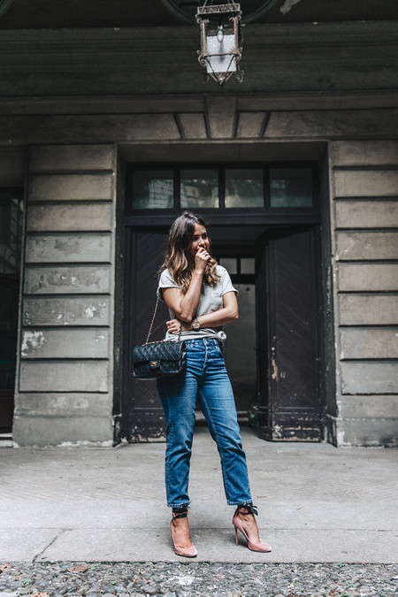 Topshop Jeans Jimmy Choo Shoes Lace Up Ballerina Heels Grey Top Chanel Vintage Outfit Mfw Milan 3