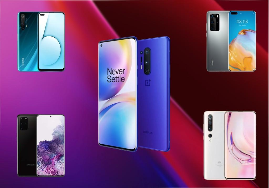 Comparativa del OnePlus 8 Pro frente al Samsung Galaxy S20+, Xiaomi Mi 10 Pro, Huawei P40 Pro y los mejores móviles del momento