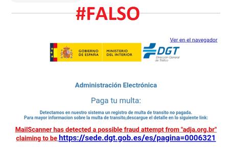 """""""No piques"""": la DGT alerta de un nuevo intento de estafa por medio de un mail que avisa de una multa falsa"""