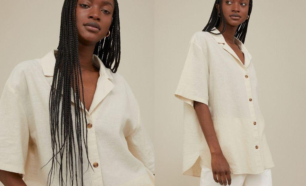 Camisa resort de lino y algodón