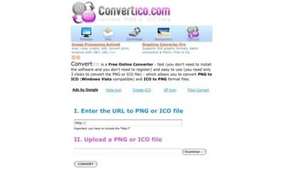 Convertico, conversión de archivos PNG a ICO y viceversa