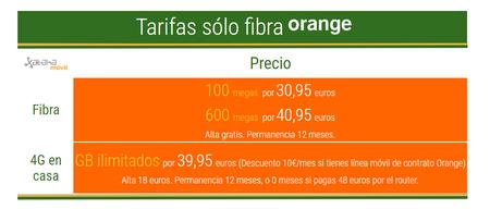 Tarifas Solo Fibra Y 4g En Casa De Orange