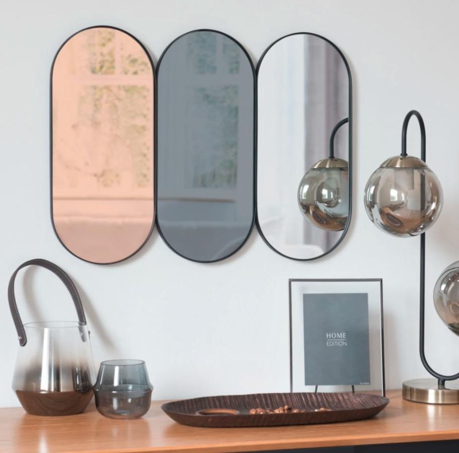 Espejo Kaduna, tríptico ovalado de metal 60x45