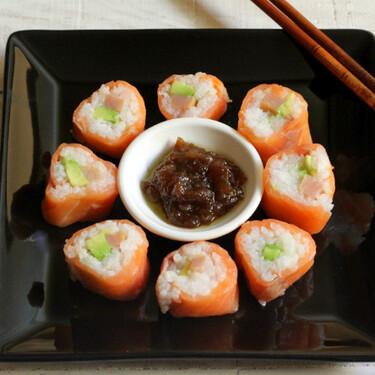 Makis de salmón con aguacate y bonito en salazón, receta para celebraciones