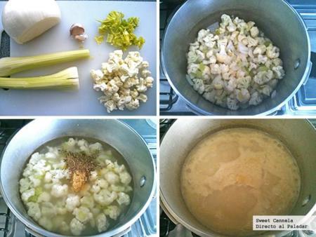 Preparación sopa coliflor