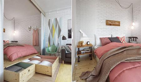 Dormitorio con almacenaje bajo el suelo