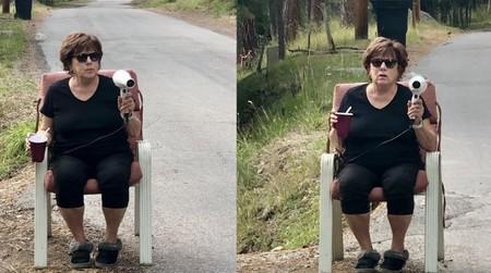 El mejor radar disuasorio del mundo lo tiene en sus manos esta señora de la silla: un secador de pelo