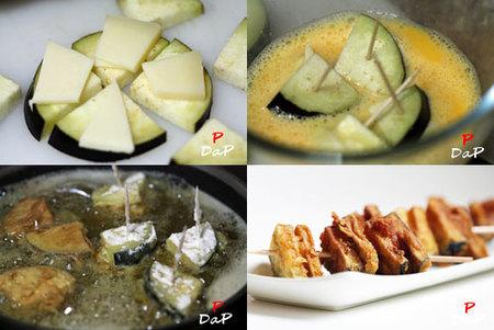 Hacer un pincho de berenjenas y queso Idiazabal