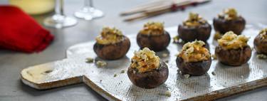 Champiñones rellenos de puerro y queso azul, receta de aperitivo fácil y rápido