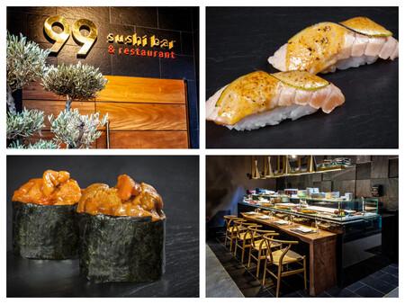 Nigiri De Salmon Flambeado Y Lima Y Gunkan De Erizo De Mar Dos De Los Exitos De La Cadena 99 Sushi Bar