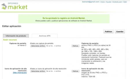 Consola de publicación android market
