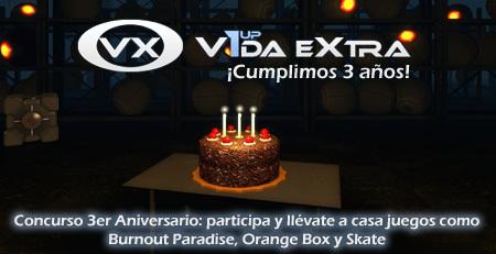 Recordatorio Concurso 3er Aniversario de VidaExtra: finaliza en dos días