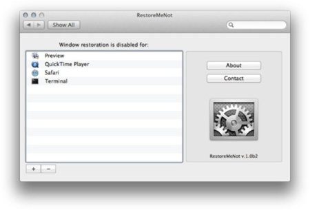 RestoreMeNot, controlando a tu gusto la restauración de programas en OS X Lion
