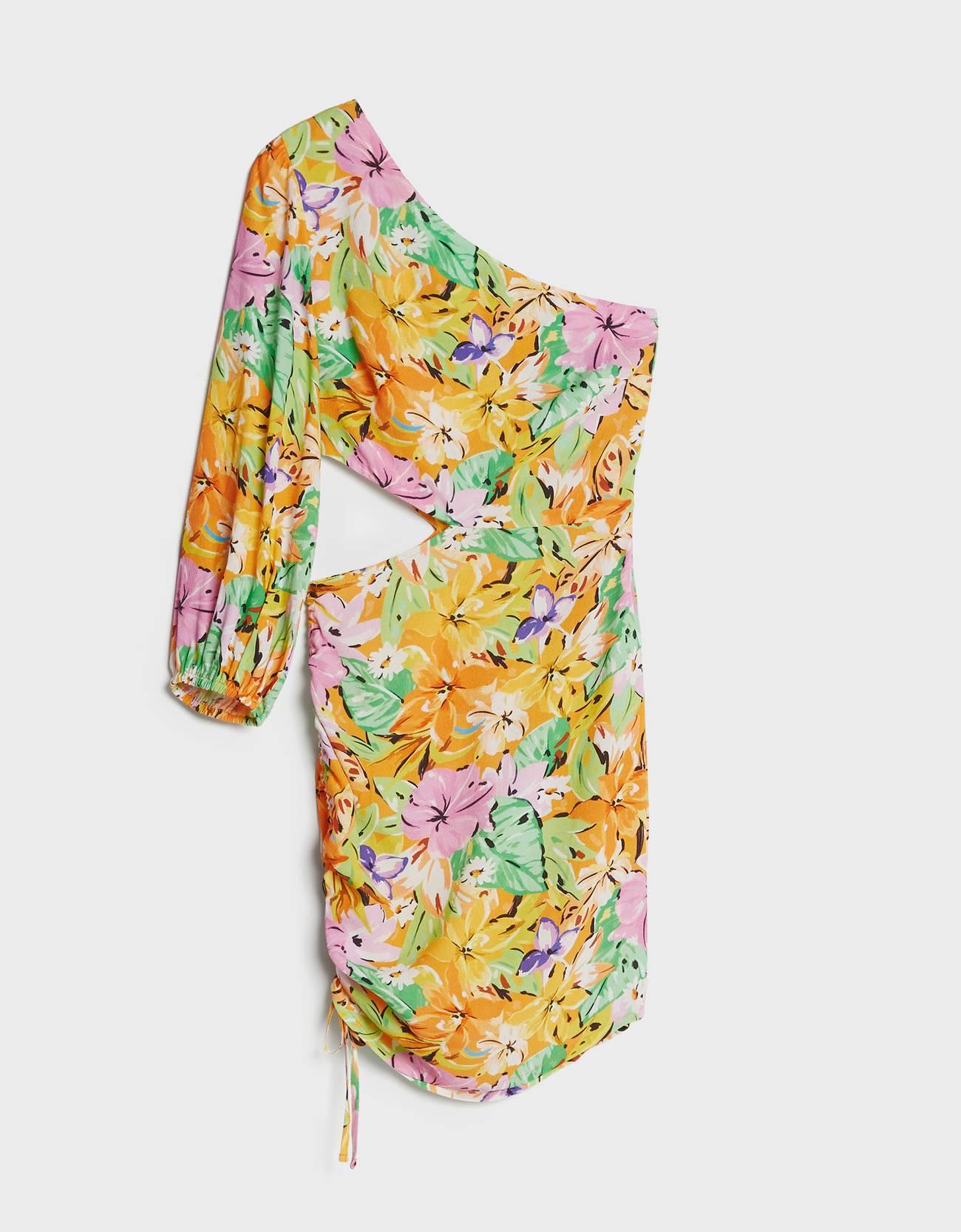 Vestido asimétrico flores.