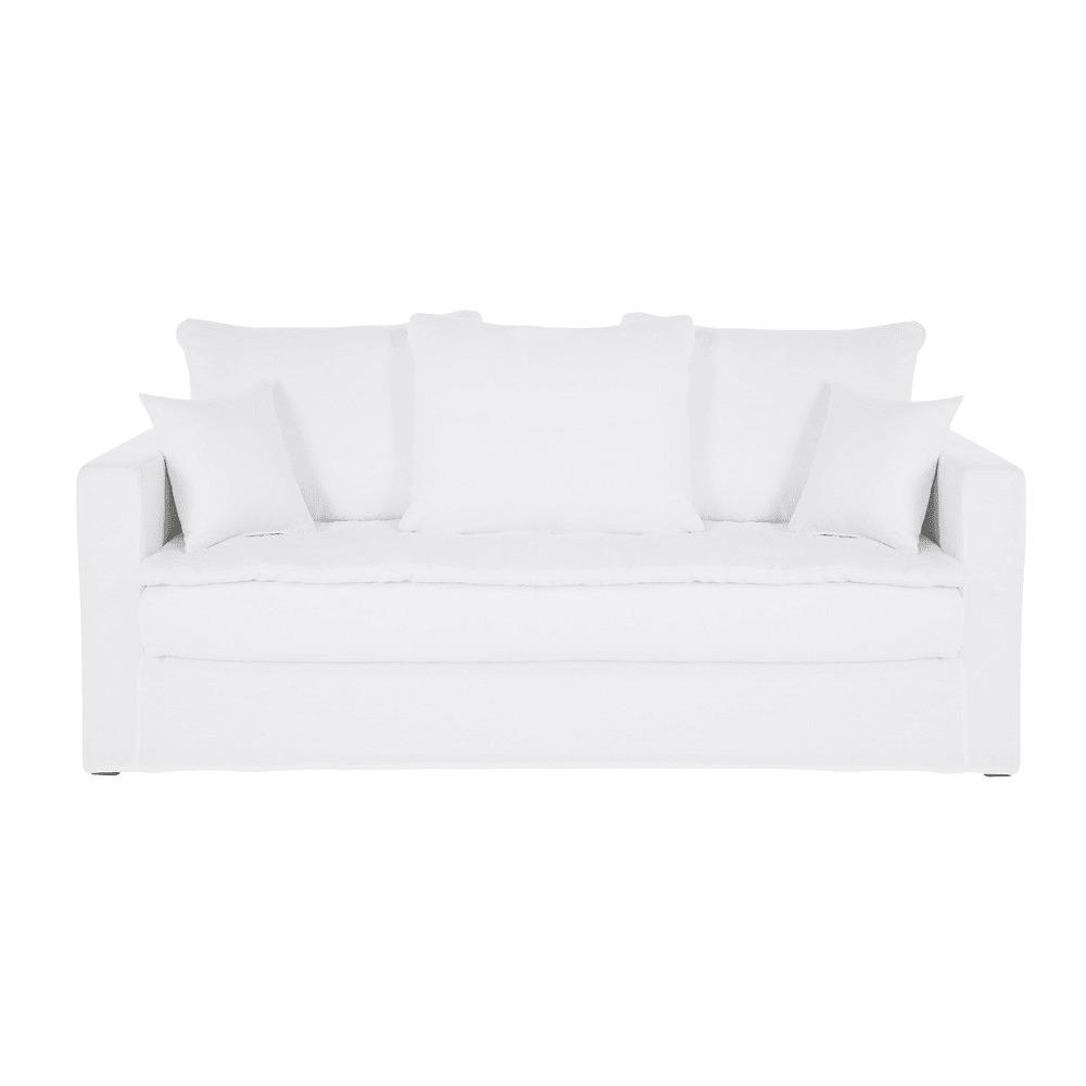 CÉLESTIN- Sofá de 3 plazas de lino lavado blanco