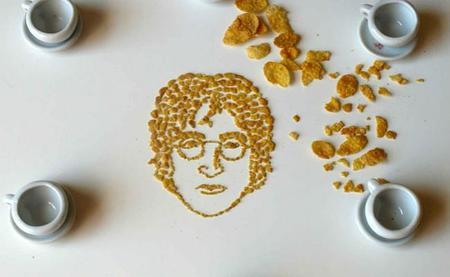 Retratos de músicos famosos hechos con cereales de desayuno