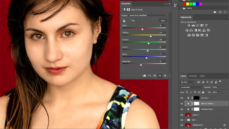 cómo usar capa de ajuste blanco y negro en photoshop